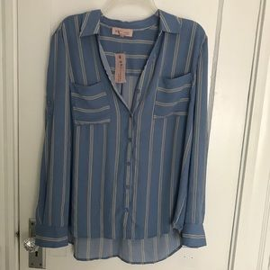 Philosophy stripped blue button down top NWT
